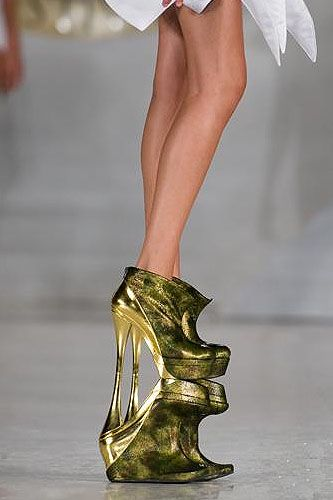 Mihai Abu double booties - omg these are wild! They look like they are reflecting but no!