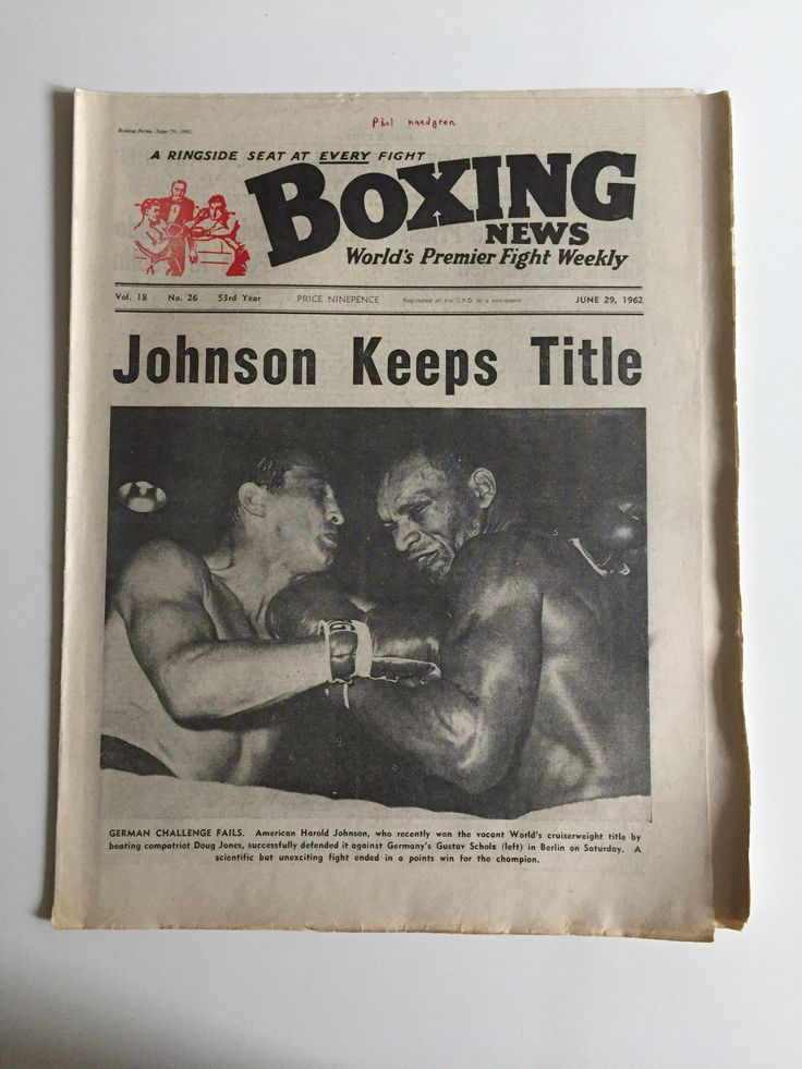 BOXING NEWS JUNE 29 1962  HAROLD JOHNSON WORLD CRUISERWEIGHT GUSTAV SCHOLZ BOXING NEWS World's Premier Fight Weekly - A ringside seat at every fight  Vol. 18 - No. 26 - 53rd Year - June 29, 1962  JOHNSON KEEPS TITLE German Challenge Fails. American Harold Johnson, who recently won the vacant World's cruiserweight title by beating compatriot Doug Jones, successfully defended it against Germany's Gustav Scholz (left) in Berlin on Saturday. A scientific but unexciting fight ended in a points…