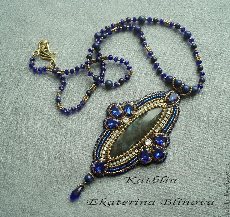 """Купить Кулон """" Византия"""" - тёмно-синий, кулон, бисер, лабрадор, натуральные камни"""