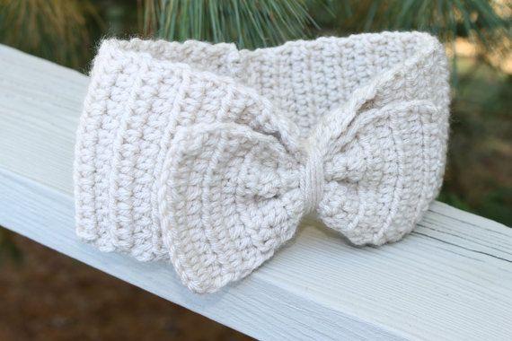 Free Crochet Earmuff Pattern : Head Warmer Crochet Earmuff Headband Cream/Off White with ...
