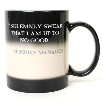 "It starts out all black with ""I solemnly swear..."" and when you fill it with hot liquid, it turns white and says ""mischief managed.""  I really want this."