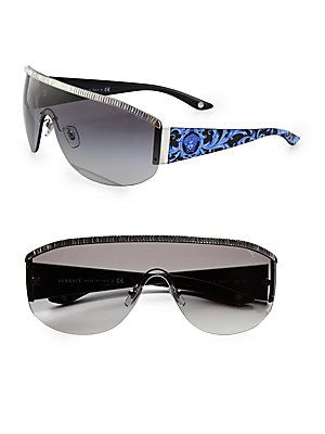 Versace Metal+Oversized+Round+Shield+Sunglasses