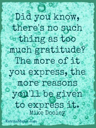 Did you know, there's no such thing as too much gratitude? The more of it you express, the more reasons you'll be given to express it. -Mike Dooley
