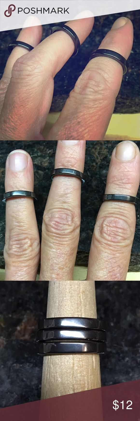 Set of 3, genuine hematite knuckle rings Set of 3 genuine hematite rings. Small rings size 4.5 fit on your top knuckle or pinky. Wear all three together or on different fingers. Genuine Hematite Jewelry Rings