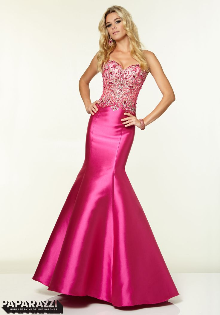 97006 Prom Dresses / Gowns Beaded Mesh on Larissa Satin Hot Pink