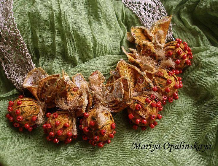"""Купить Текстильные бусы """"Деревенский шарм"""" - рыжий, текстильные бусы, бусы из ткани, летние бусы"""
