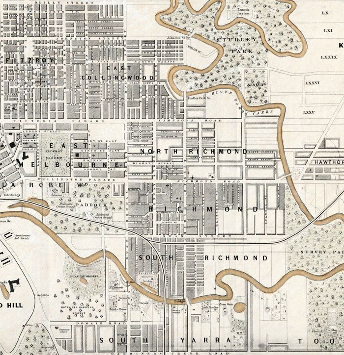 Vintage Map of Melbourne City , Australia Oceania 1851