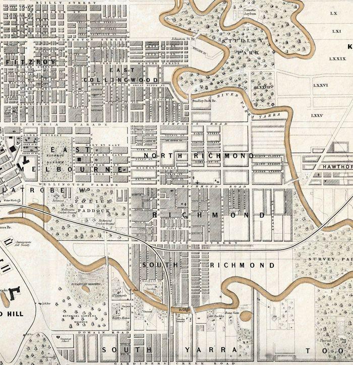 Vintage Map of Melbourne City , Australia Oceania 1851