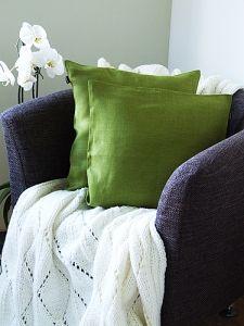 Rain Forest Green Linen Cushion Cover Emilia
