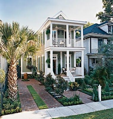 Pretty shotgun-style traditional home in New Orleans: Cottages Houses, Orleans Cottages, New Orleans, Dreams Home, Dreams Houses, Country Houses Plans, Traditional Home, Shotguns Houses, Cottages Living