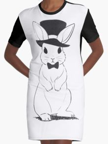 Top Hat Rabbit Graphic T-Shirt Dress