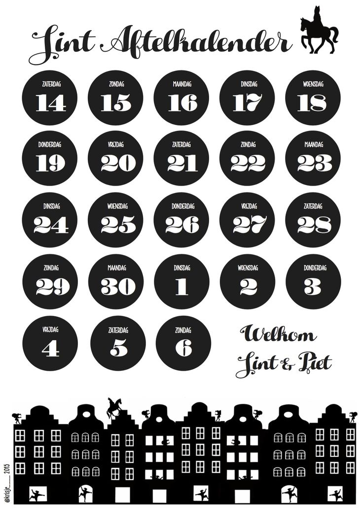 aftelkalender Sinterklaas 2015 schoenzetkalender DIY silhouette sint & piet…