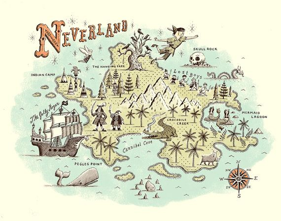 pirate map Neverland, Neverland map and Peter pans - copy large world map for the wall