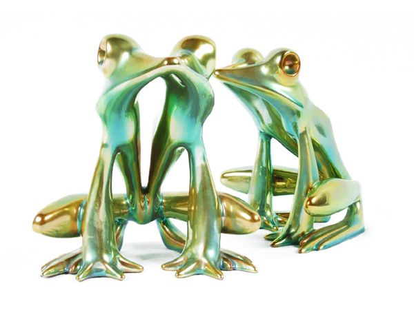 Zsolnay Hungarian Handicrafts Frogs Green Decor