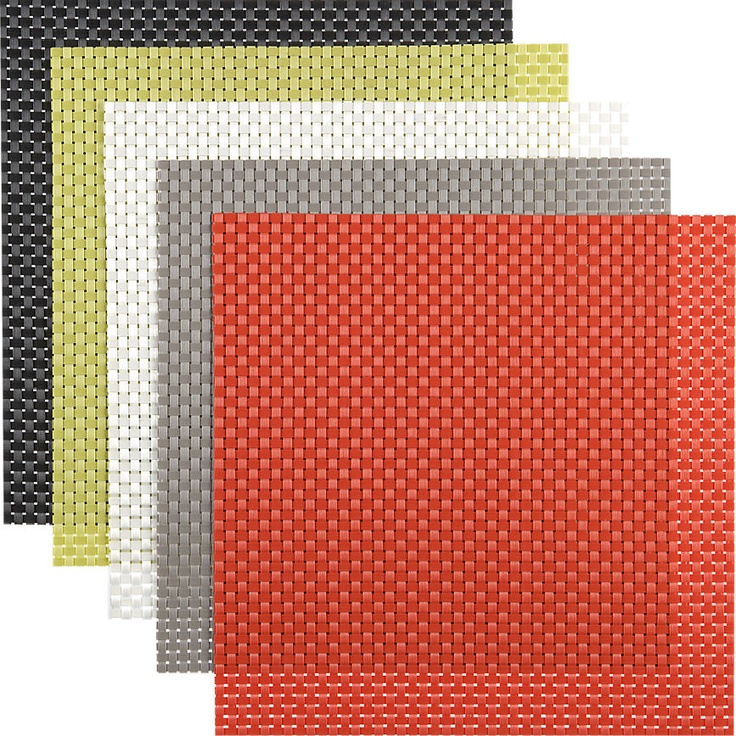 Charming Eye Catching Outdoor Table Decoration For Entertainment: Attractive  Basketweave Placemats Designed In Square Shaped And Finished In Bright C.