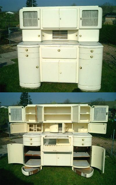 Amazing Art Deco European kitchen hutch - why can't they make furniture this cool today?