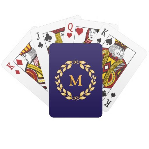Royal Blue Roman Wreath Monogram Playing Cards  A royal blue background, with an ornate golden Roman-style wreath, and at the center your very own initial! Make it your own today.