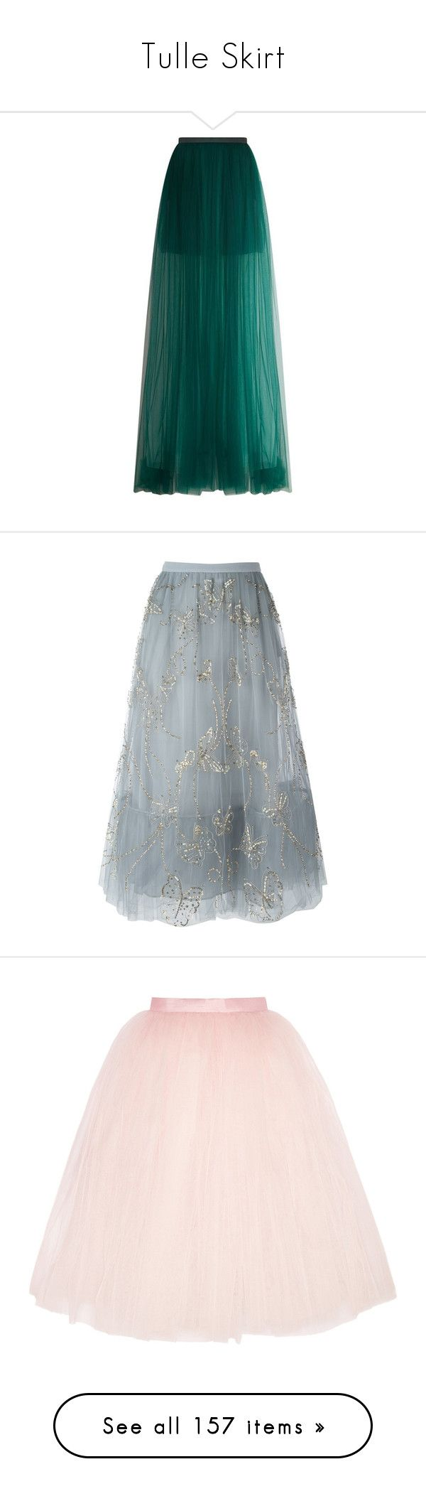 """""""Tulle Skirt"""" by brassbracelets ❤ liked on Polyvore featuring skirts, bottoms, green skirt, long green skirt, delpozo, tulle skirt, cocktail skirt, saias, valentino and grey"""