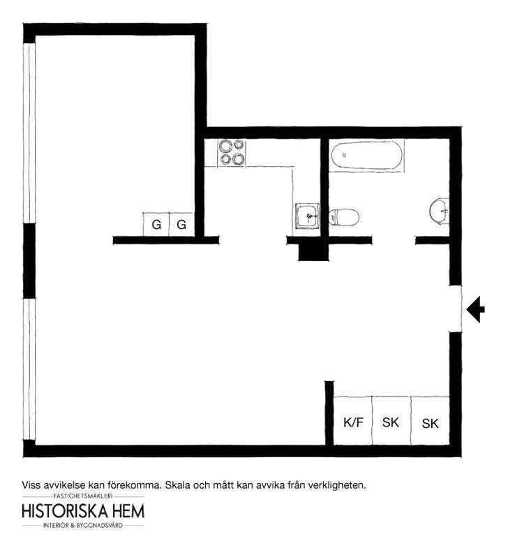 Маленькая, но стильная квартира в Швеции (32 кв. м) | Пуфик - блог о дизайне интерьера