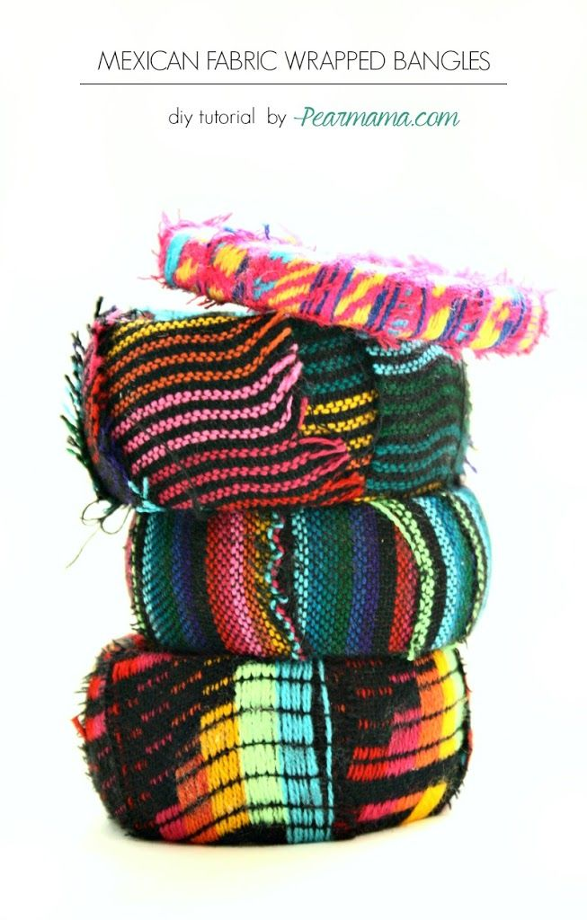We love the Mexican fabric trend! Make your own fashion statement by creating your own Mexican-fabric wrapped bangle bracelets.