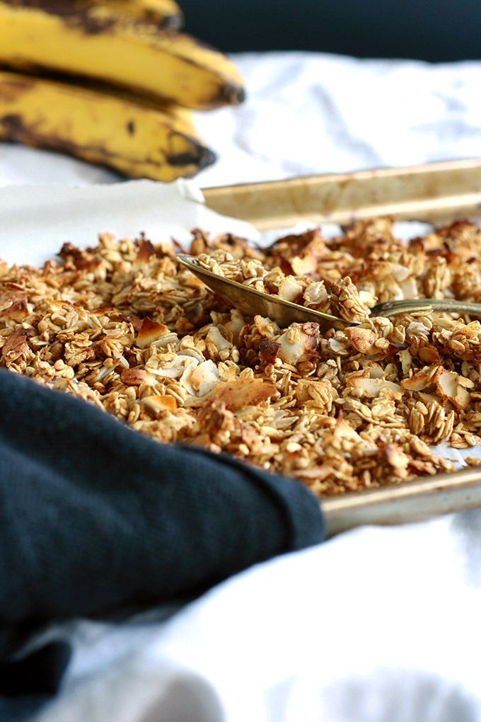 Vegan Caramelized Banana Granola (oil and sugar free) | love me, feed me