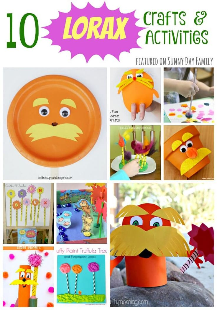 10 crafts and activities for kids based on the Lorax! Fun and easy Lorax crafts and Dr. Seuss inspired activities - perfect for a Lorax party or Dr. Seuss day!