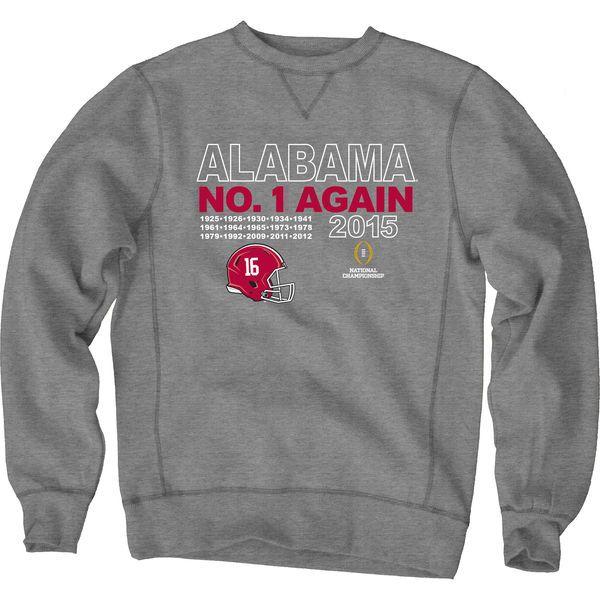 Alabama Crimson Tide Blue 84 College Football Playoff 2015 National Champions Crew Sweatshirt - Gunmetal