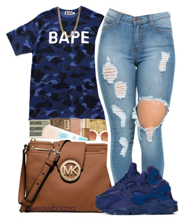 """""""bape"""" by yeauxbriana on Polyvore featuring A BATHING APE, NIKE, women's clothing, women's fashion, women, female, woman, misses and juniors"""