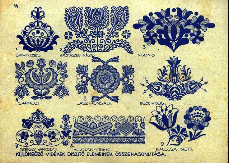 Different styles of Hungarian embroidery. Kalotaszeg in the top center!  All are so beautiful.