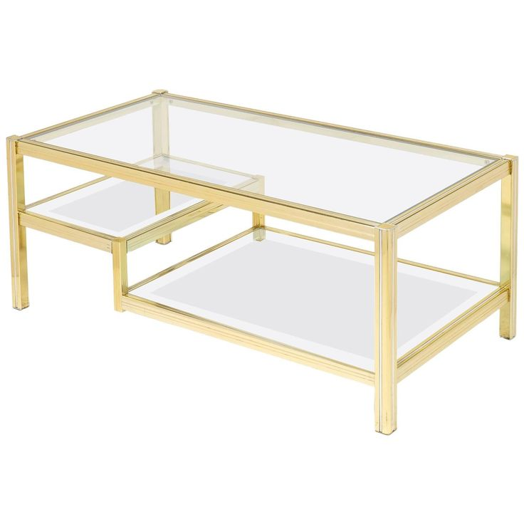 French Mid Century Three Tier Brass Glass Top Coffee Table | From A Unique