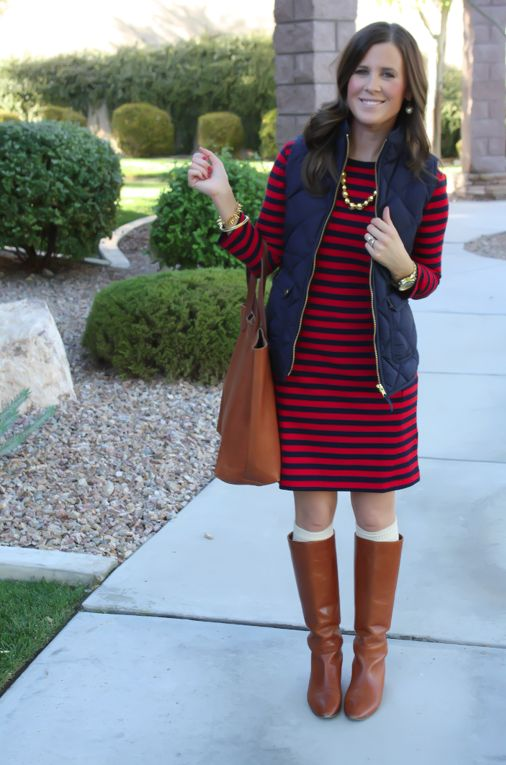 Red and Navy Striped Dress Navy Quilted Dress Cognac Boots Cognac Tote Gold Bead Necklace ...