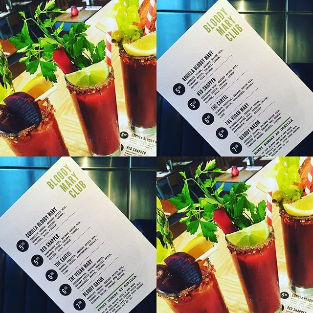 Hey gang! Have you heard about our Bloody Mary club? Speciality bloody Mary's all day, bacon, tequila, vegan, gin, vodka, virgin, SO MANY CHOICES! Come shake that hangover or just to stick two fingers up to dry January. #dryjanuaryfail #gorilla #bloodmary #vegan #veganuary #redsnapper #tequila #manchester #brunch #breakfast