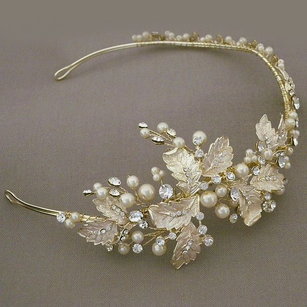 April Showers Bridal Headband ~ Justine M Couture Bridal Headpieces. Pale gold leaves adorned with sprays of crystals & ivory pearls, creates a boho chic bridal headband.