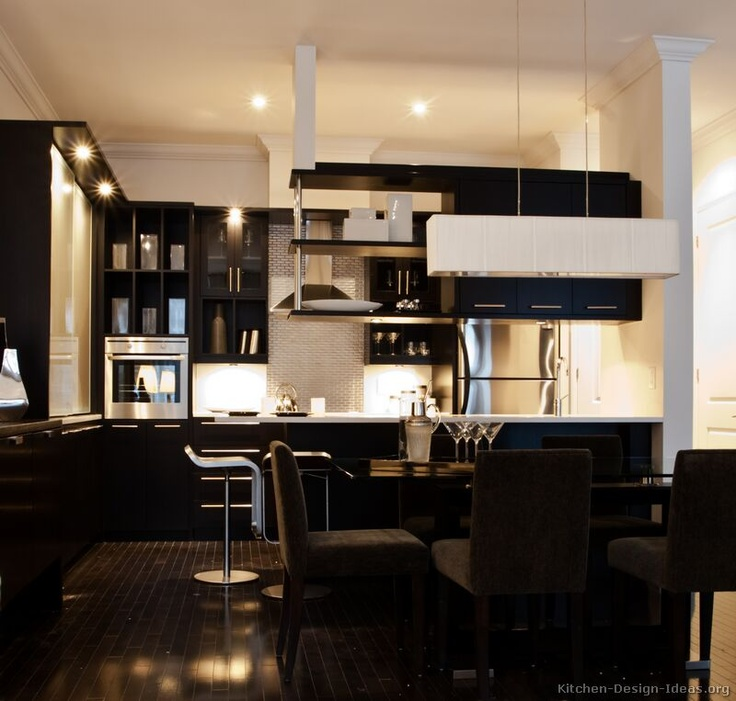 #Kitchen of the Day: A modern black kitchen with dramatic lighting, dark floors, an aluminum tile backsplash, and suspended shelves... Photo # 18 in Modern Black Kitchen Cabinets
