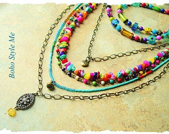 Boho Colorful Beaded Necklace Handmade Bohemian Jewelry