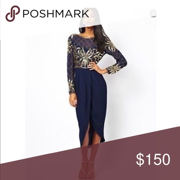 Brand new Virgos Lounge midi dress w/ gold sequins Never worn Midi dress by Virgos lounge. Navy blue, wrap front, gold sequins, and a v-back. Dresses Midi