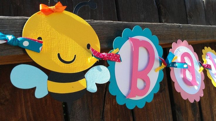 CUSTOM Bee Banner.  Baby name banner or Happy Birthday banner by SweetBugABoo on Etsy https://www.etsy.com/listing/93626291/custom-bee-banner-baby-name-banner-or