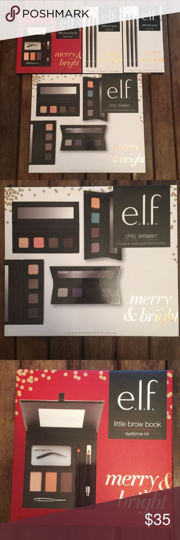 e.l.f. Makeup & Accessory Bundle 💋 NWT Large beauty bundle! e.l.f. Makeup and accessories. 4 look books (16 eyeshadow shades), little brow book (4 reusable stencils, 2 eyebrow powders, 1 eyebrow defining wax, 1 eyebrow brush, 1 dual ended brow pencil & brush & 1 tweezer), 2 defines eyes brush sets (2 smudge brushes, 2 angled eyeliner brushes & 2 small angled brushes). Don't miss your chance to get this awesome deal. All brand new! e.l.f. Makeup