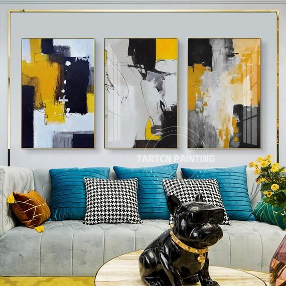 Set Of 3 Frame Wall Art Abstract Acrylic Painting On Canvas Black Yellow Color Abstract Acrylic Large Painting Original 3 Piece Wall Art Abstract Painting Acrylic Canvas Painting Abstract