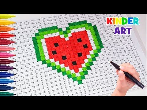 Рисунки по клеточкамСердце-арбуз | How to draw a watermelon heart Pixel Art - YouTube