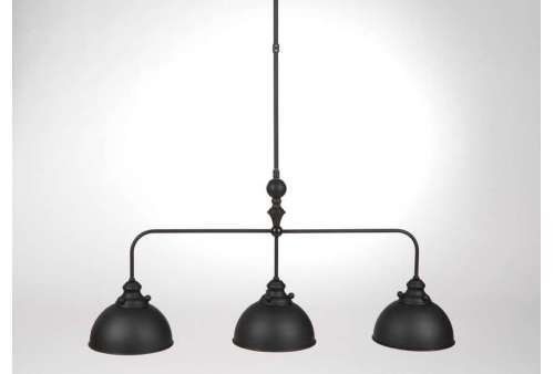 Suspension industrielle m tal noir luminaires for Luminaire triple suspension