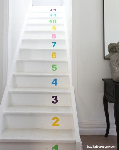Counting your way to the top. These numbered stairs painted in various Resene test pots.