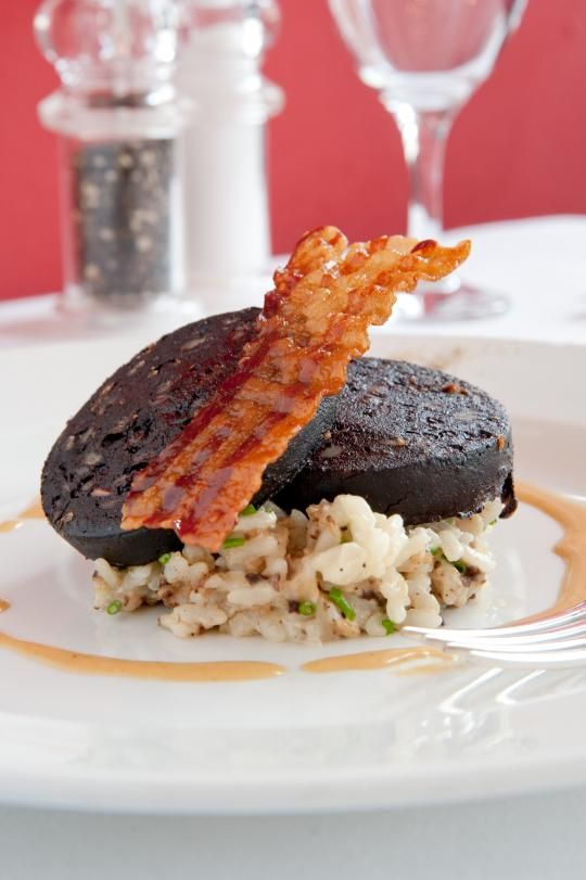 Pan Fried Stornoway Black Pudding with Haggis Risotto and Crispy Pancetta