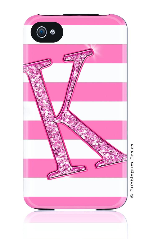 custom iphone 5 4s 4 samsung galaxy s3 siii phone case - glitter stripes light pink initial