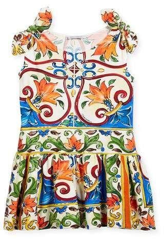 6200b4144f09 Maiolica-Print Jersey Dress, Size 4-6 #print#tile#Sleeveless ...