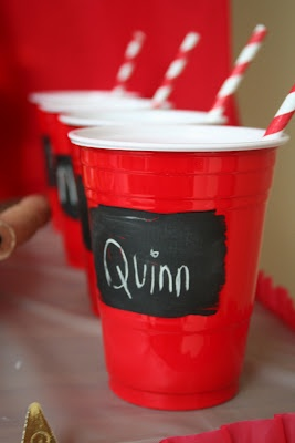 chalkboard paint on solo cups. we have too many people over at times, this would be a great fix