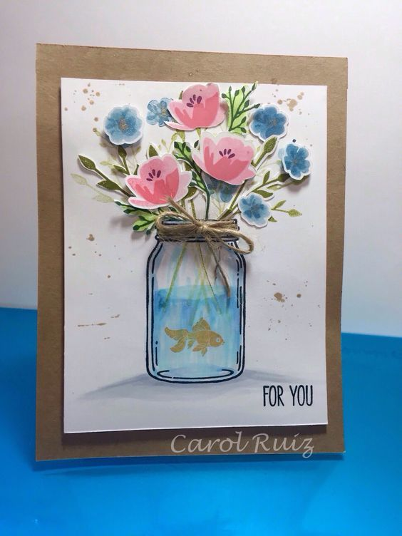 "Stampin Up! ""Jar of love"" stamp set. Use some masking and second generation stamping using the new in colors.:"