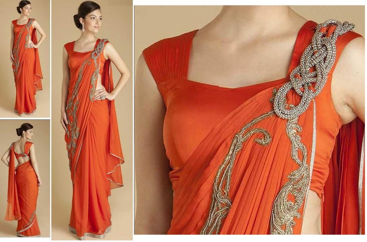 Beautiful modern sari design by Gaurav Gupta