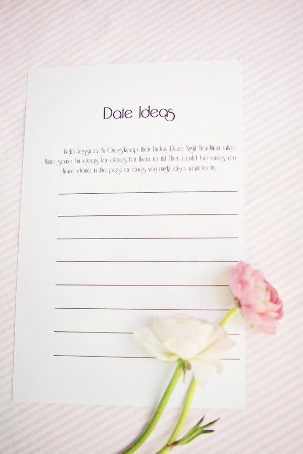 Date Ideas- Bridal Shower