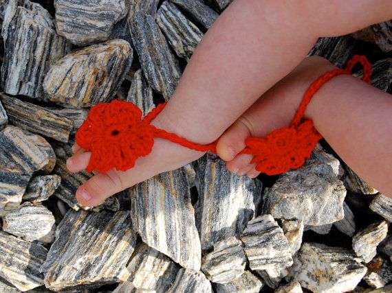 Red Crochet Baby Barefoot Sandals Baby Foot accessories by Kreacje
